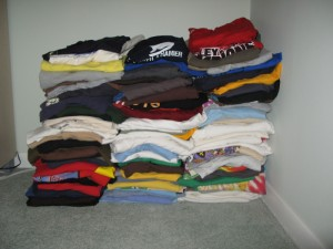 my pile of 107 shirts