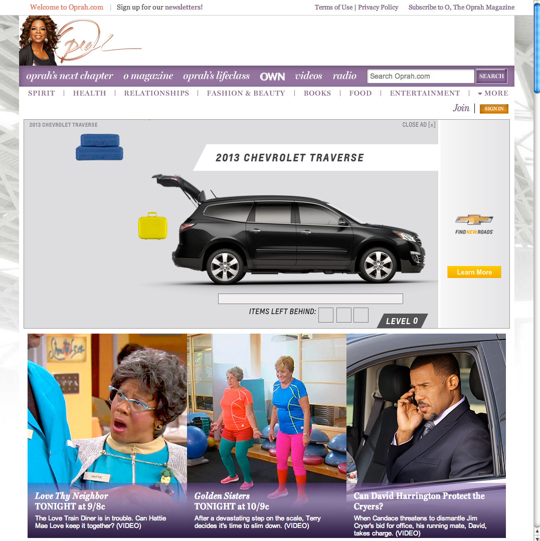 Chevy Traverse on Oprah.com